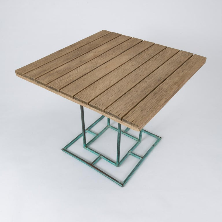 Square Patio Dining Table with Wooden Top by Walter Lamb for Brown Jordan 9