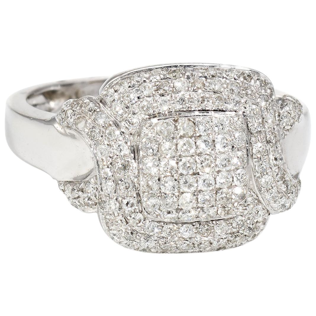 Square Pave Diamond Cocktail Ring Estate 18 Karat White Gold Fine Jewelry