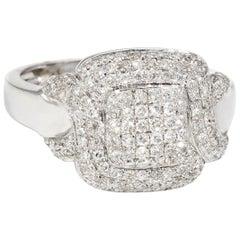 Square Pave Diamond Cocktail Ring Estate 18 Karat White Gold Fine Jewelry