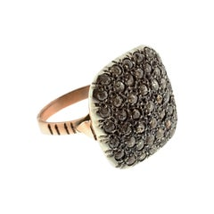 Square Pavé-Set Diamond Cocktail Ring in Silver & Gold in Ancient Technique