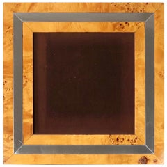 Square Picture Frame in Burl Wood and Chrome, Italy, 1970s