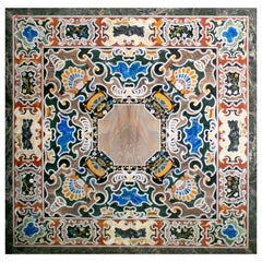 Square Pietre Dure Classical Marble and Lapis Lazuli Mosaic Table Top