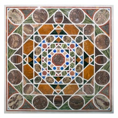 Square Pietre Dure White Marble and Lapis Geometric Mosaic Table Top
