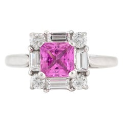 Square Pink Sapphire with Diamonds in 18 Karat White Gold Ring