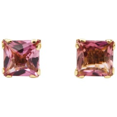 Square Pink Tourmaline Prong Stud Pierced Screw-Back Earrings in 18 Karat Gold