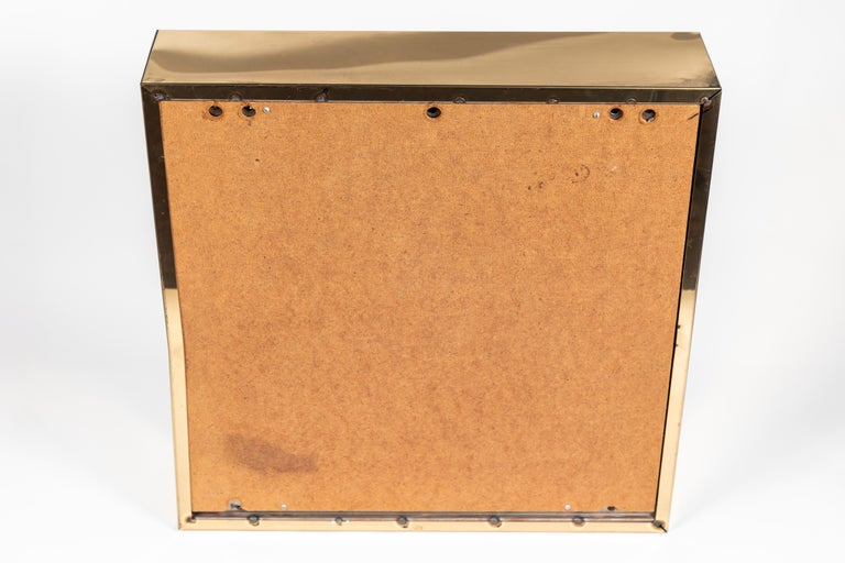 American Square Polished Brass Mirror by Curtis Jere, 1976 For Sale