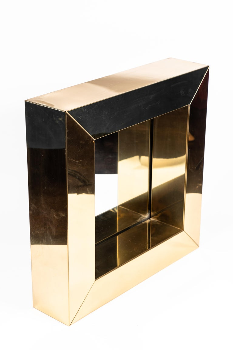 Square Polished Brass Mirror by Curtis Jere, 1976 In Good Condition For Sale In Pasadena, CA