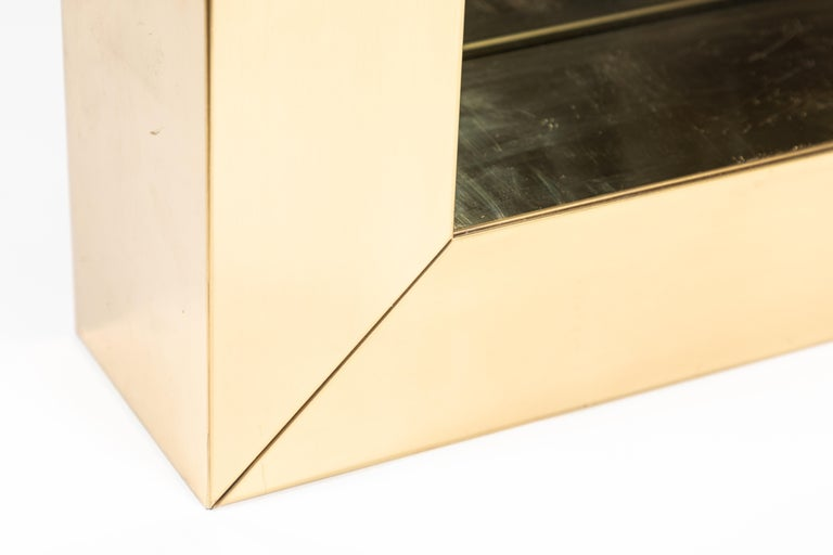 Late 20th Century Square Polished Brass Mirror by Curtis Jere, 1976 For Sale
