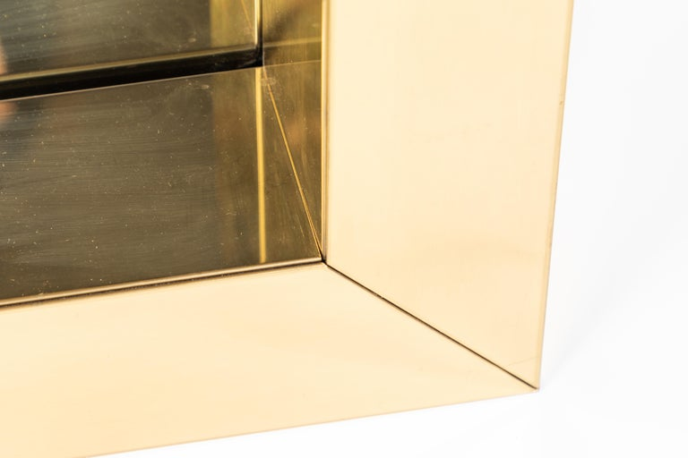 Square Polished Brass Mirror by Curtis Jere, 1976 For Sale 1