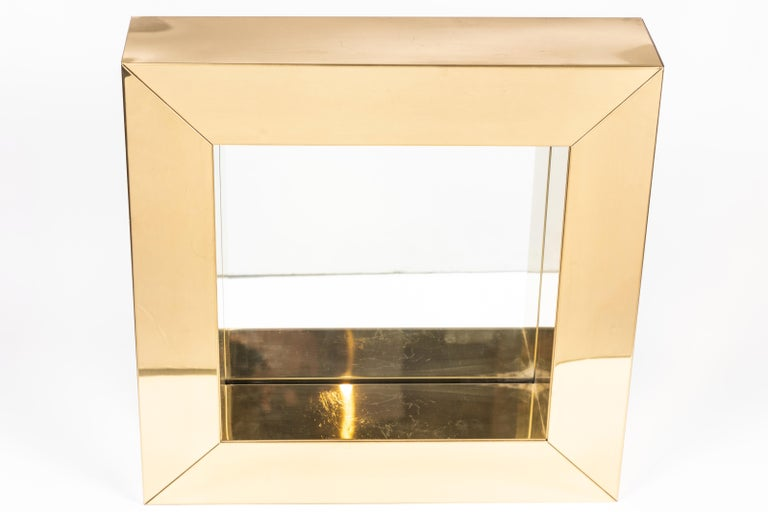 Square Polished Brass Mirror by Curtis Jere, 1976 For Sale 2