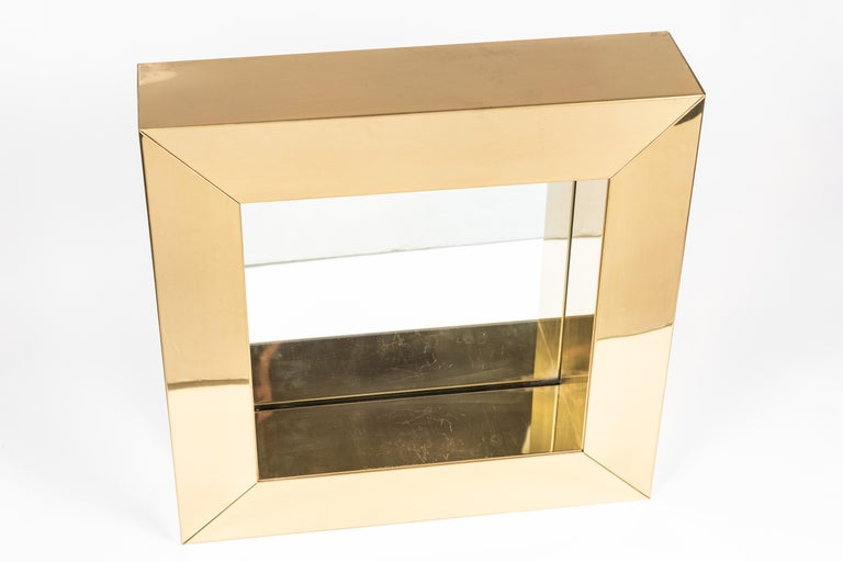 Square Polished Brass Mirror by Curtis Jere, 1976 For Sale 3