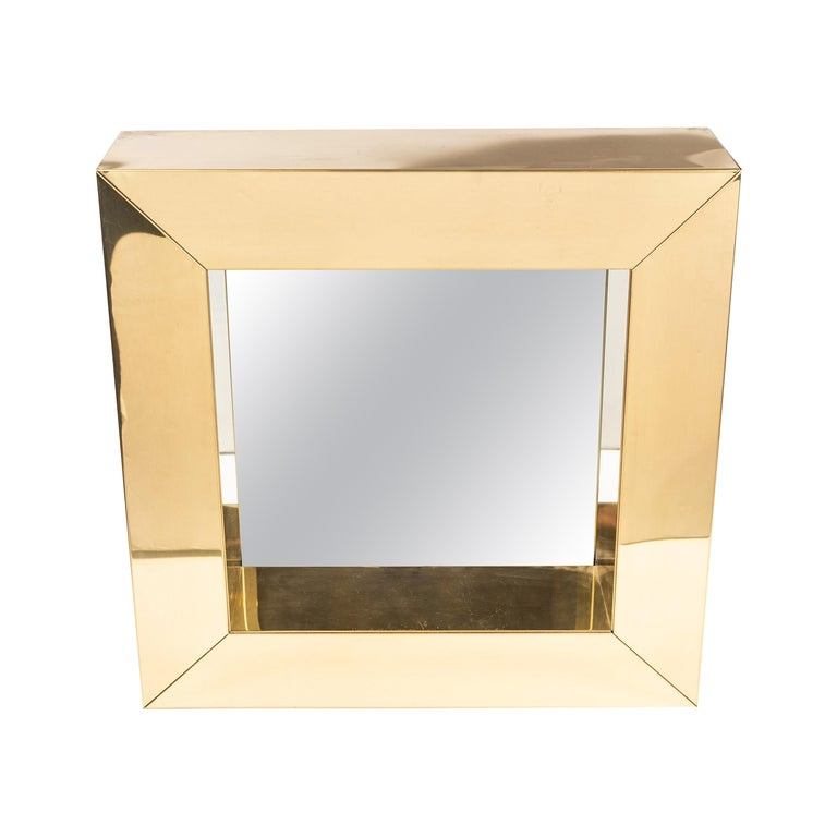 Square Polished Brass Mirror by Curtis Jere, 1976 For Sale