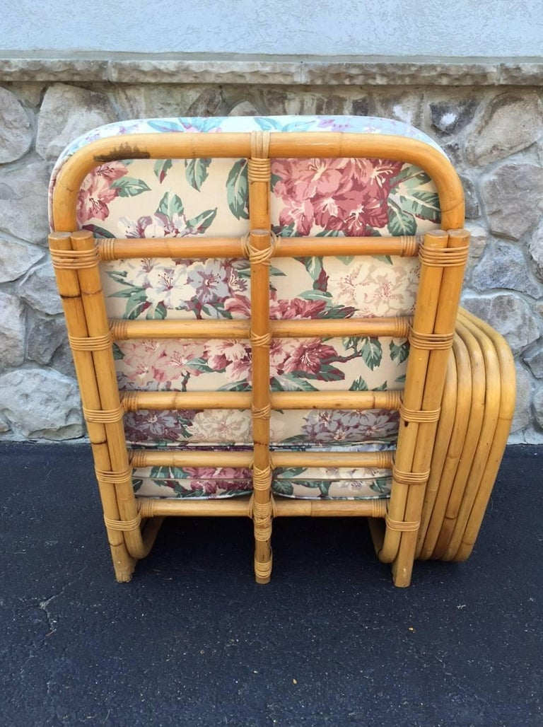 Square Pretzel Rattan Sofa Style of Paul Frankl In Good Condition For Sale In New York, NY