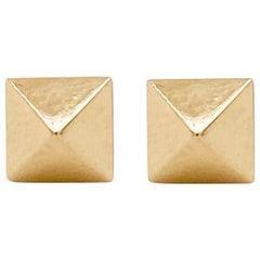 Square Pyramid Earrings, 14 Karat Yellow Gold Pyramid Stud Earrings, Post Square