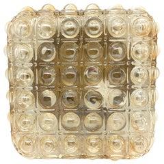 Square Quadratic Bubble Glass Pattern Limburg Flush Mount Ceiling Light, 1960s
