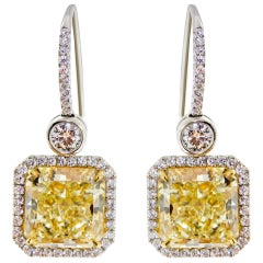 Square Radiant Yellow Diamond Pave Halo Drop Earrings
