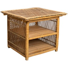 Square Rattan Magazine Coffee Table or Side Table, France, circa 1970