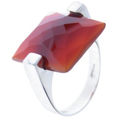Square Red Carnelian 9 Karat White Gold Ring Handcrafted in Italy
