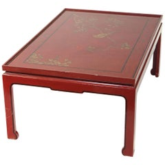 Square Red Lacquered Coffee Table