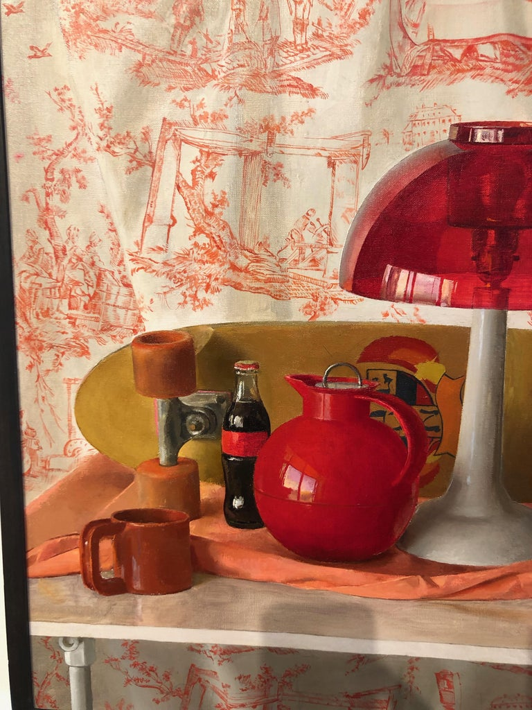 Contemporary Square Red Still Life, Original Oil Painting with Skateboard and Mixed Objects For Sale