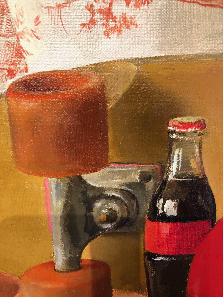 Square Red Still Life, Original Oil Painting with Skateboard and Mixed Objects For Sale 2