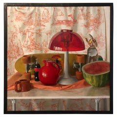 Square Red Still Life, Original Oil Painting with Skateboard and Mixed Objects