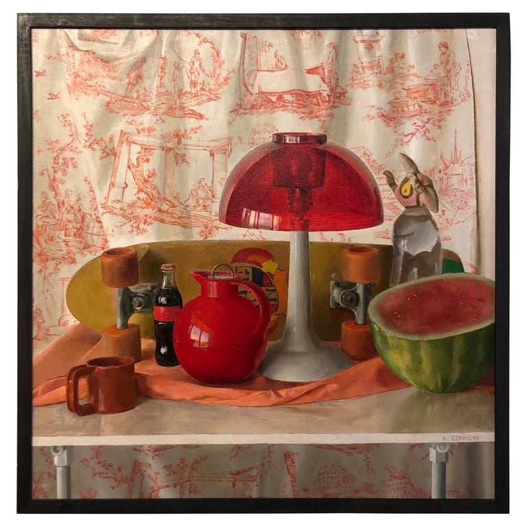 Square Red Still Life, Original Oil Painting with Skateboard and Mixed Objects For Sale