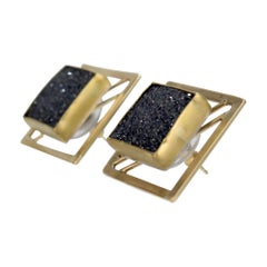 Square Retro 18 Karat Gold, Sterling, & Black Druzy Onyx Earrings by Yumi Ueno