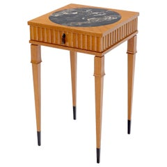 Square Round Black Marble Insert Top One Drawer Lamp Accent Table Stand