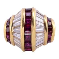 Square Ruby & Baguette Diamond Fashion Ring