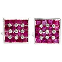 Square Ruby and Diamond Cufflinks