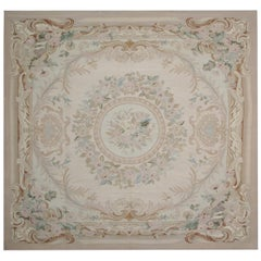 Square Rug Flat-Weave Needlepoint Carpet Rug French Style Aubusson Rugs