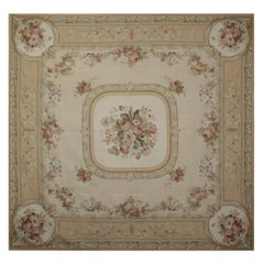 Square Rug Flat-Weave Needlepoint Handmade Carpet Rug French Aubusson Style Rugs