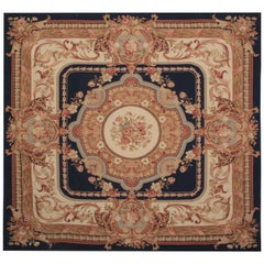 Square Rugb French Aubusson Style Needlepoint Handwoven Chinese Rug