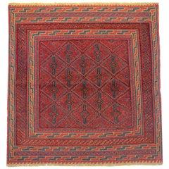 Square Rugs Geometric Afghan Rug, Handwoven Carpet Wool Area Rug