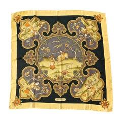 Square Salvatore Ferragamo Pure Silk Chiffon Chinese Print Scarf made in Italy