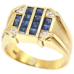 Square Sapphire and Diamond 18 Karat Matte Yellow Gold Unisex Signet Ring