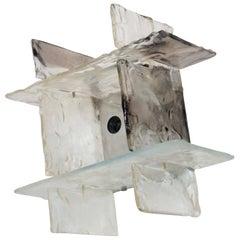 Square Sconce Murano Mazzega Wall Lamp 1960s Carlo Nason Artglass