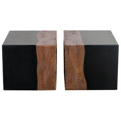 Square Seat with Woodgrain Design, Black Lacquer, Copper, Set of 2 by Robert Kuo