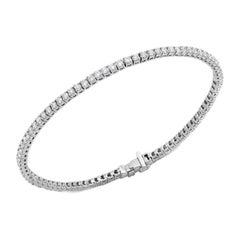 Square Setting Diamond Tennis Bracelet 14k White Gold Diamond for Her