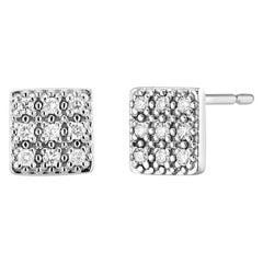 Square Shape Cluster Diamond Stud Earrings
