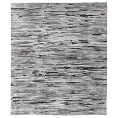 Square Shape Large Hi-Low Textured Modern Rug in White and Charcoal