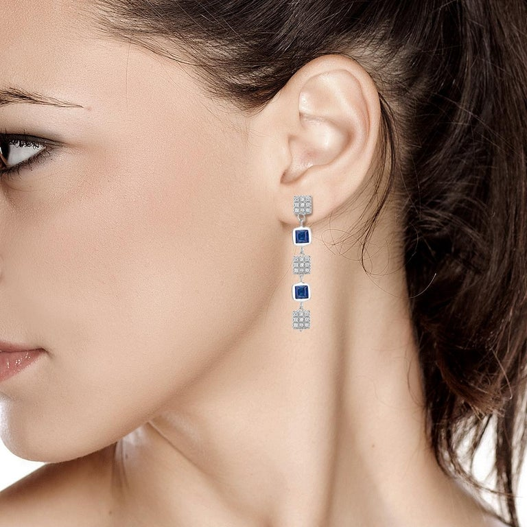 Square Shape Sapphire and Diamond Drop Earrings  For Sale 1