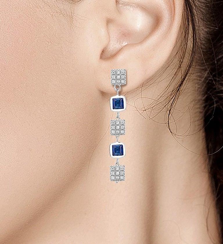 Women's Square Shape Sapphire and Diamond Drop Earrings  For Sale