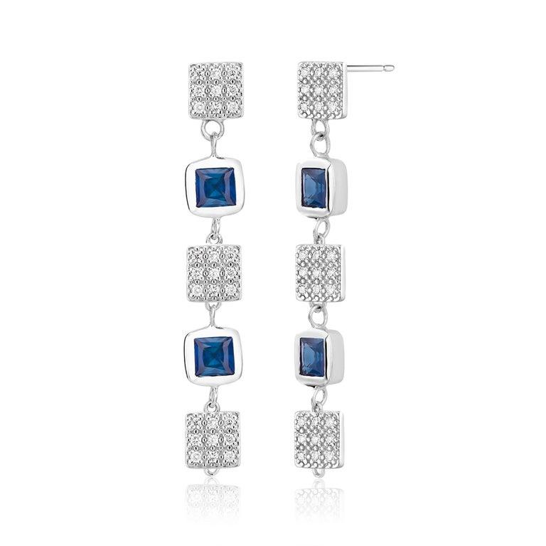 Princess Cut Square Shape Sapphire and Diamond Drop Earrings  For Sale