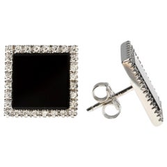 Square-Shaped Earrings of Onyx and White Diamond in 18 Karat White Gold