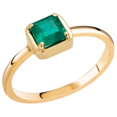 Square Shaped Emerald Yellow Gold Cocktail Solitaire Ring