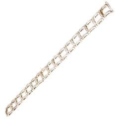 Square Shaped Round Diamond Tennis Bracelet in White Gold