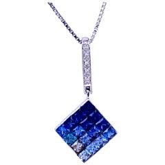 Square Shaped Sapphire Pendant