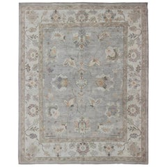 Square Shaped Turkish Oushak Rug with Neutral Color Palette